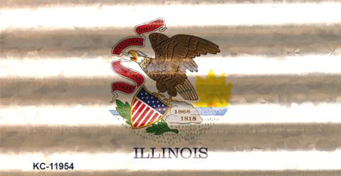 Illinois Corrugated Flag Novelty Key Chain KC-11954