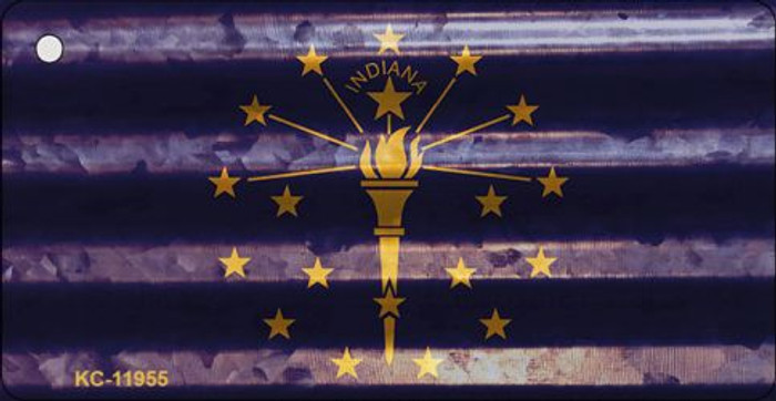 Indiana Corrugated Flag Novelty Key Chain KC-11955