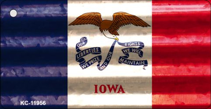 Iowa Corrugated Flag Novelty Key Chain KC-11956