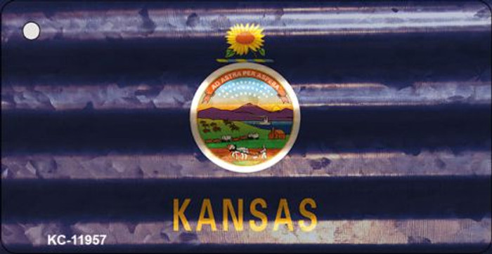 Kansas Corrugated Flag Novelty Key Chain KC-11957