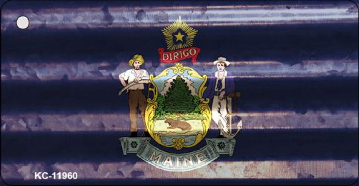 Maine Corrugated Flag Novelty Key Chain KC-11960