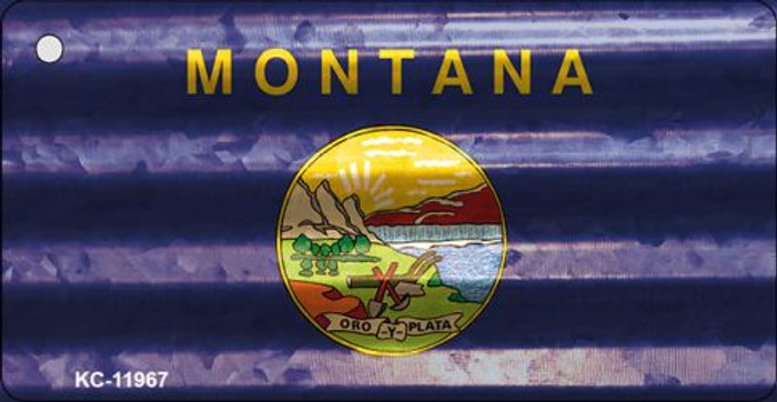 Montana Corrugated Flag Novelty Key Chain KC-11967