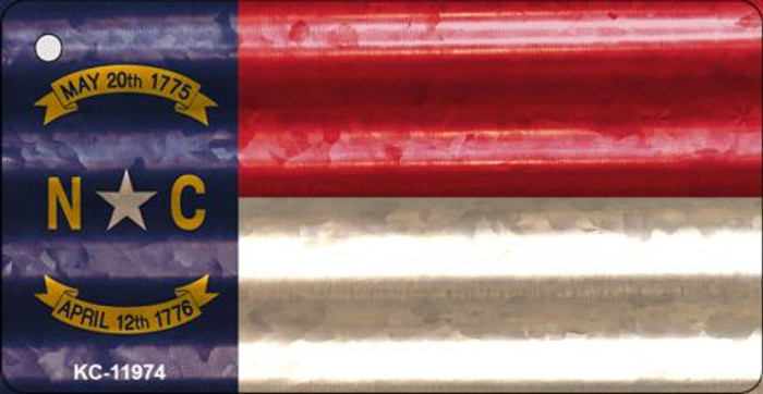 North Carolina Corrugated Flag Novelty Key Chain KC-11974