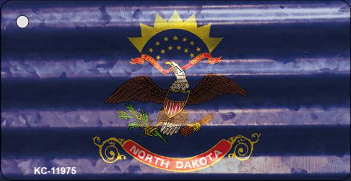 North Dakota Corrugated Flag Novelty Key Chain KC-11975