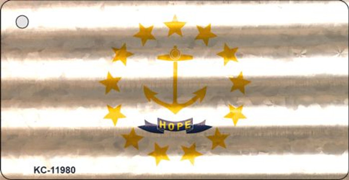 Rhode Island Corrugated Flag Novelty Key Chain KC-11980