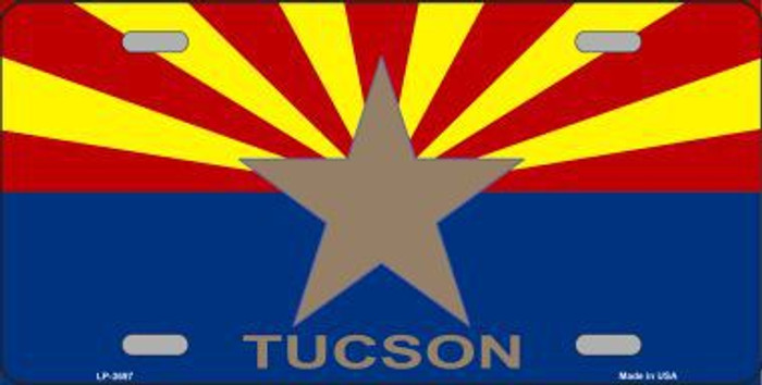 Tucson Arizona State Flag Metal Novelty License Plate LP-3697