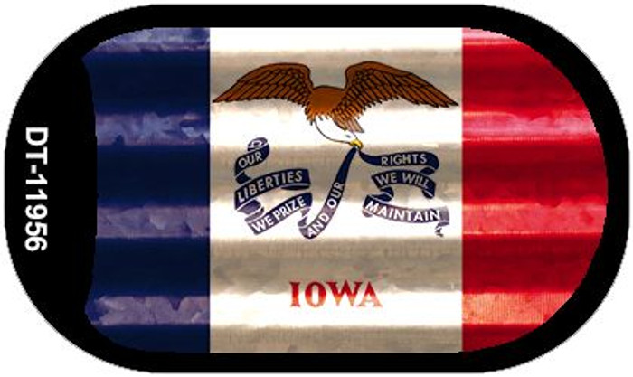 Iowa Corrugated Flag Novelty Dog Tag Necklace DT-11956