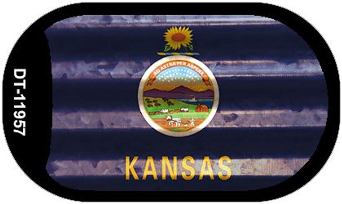Kansas Corrugated Flag Novelty Dog Tag Necklace DT-11957