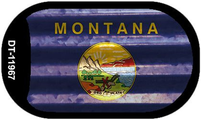 Montana Corrugated Flag Novelty Dog Tag Necklace DT-11967