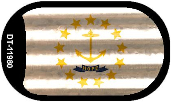 Rhode Island Corrugated Flag Novelty Dog Tag Necklace DT-11980