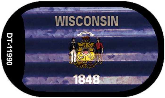 Wisconsin Corrugated Flag Novelty Dog Tag Necklace DT-11990