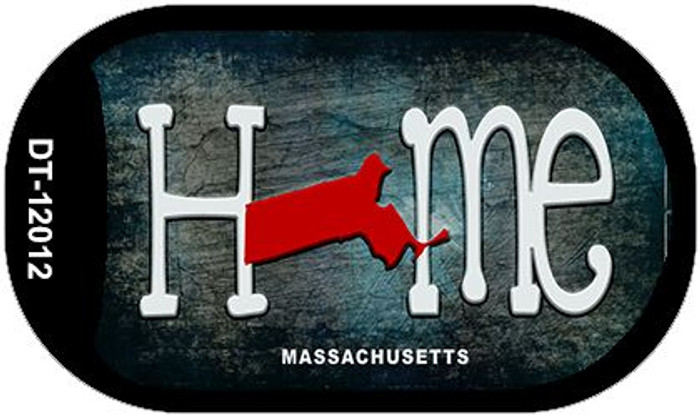 Massachusetts Home State Outline Novelty Dog Tag Necklace DT-12012