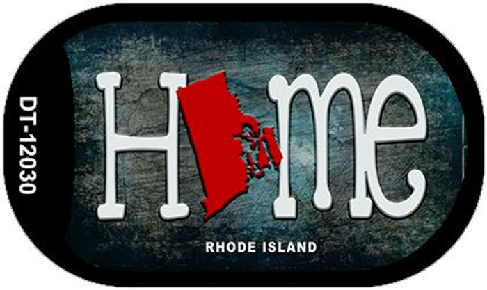 Rhode Island Home State Outline Novelty Dog Tag Necklace DT-12030