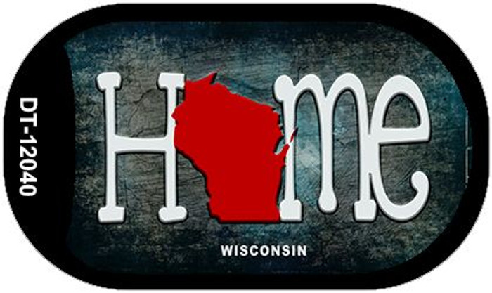 Wisconsin Home State Outline Novelty Dog Tag Necklace DT-12040