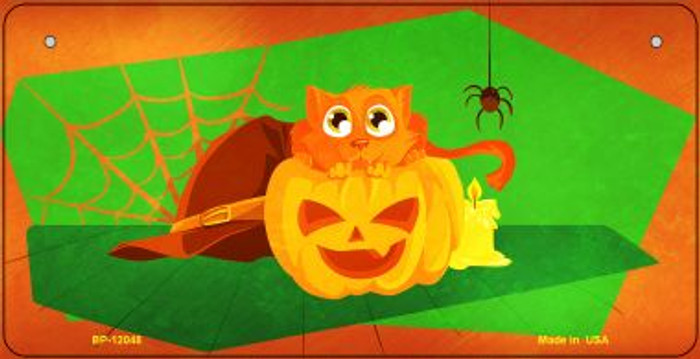 Pumpkin Kitty Novelty Metal Bicycle Plate BP-12048