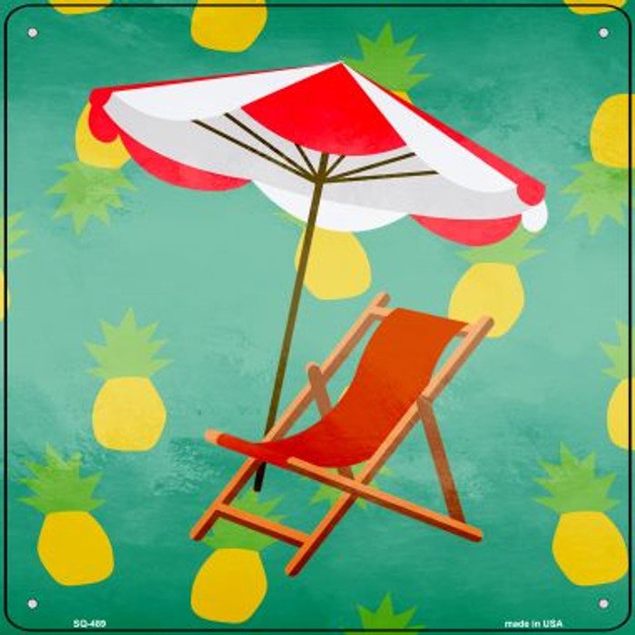 Chair and Umbrella Novelty Square Sign SQ-489