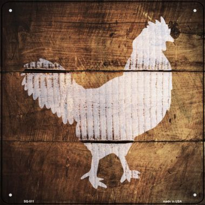 Rooster Painted Stencil Novelty Square Sign SQ-511