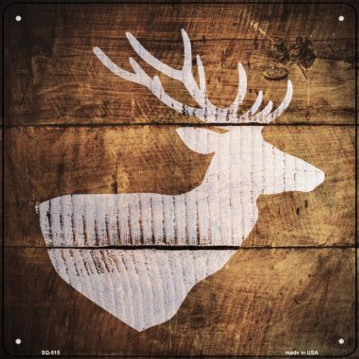 Deer Head Painted Stencil Novelty Square Sign SQ-515