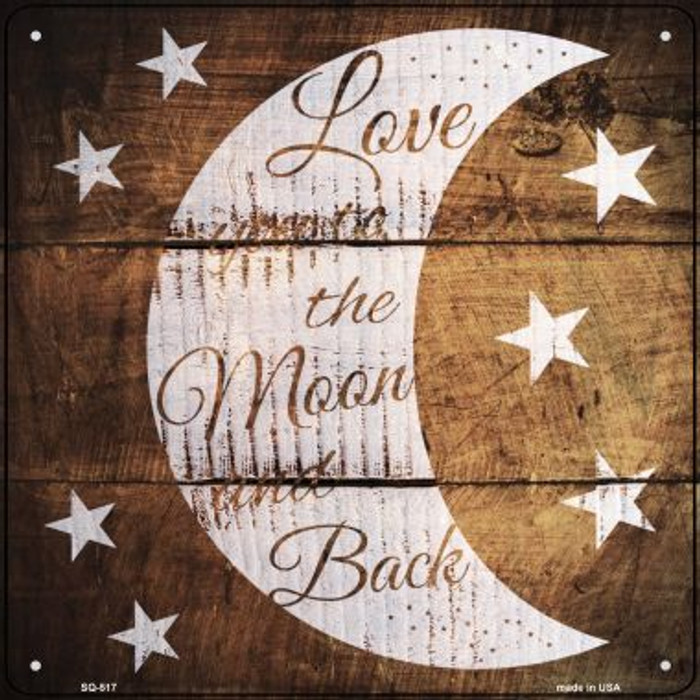 Moon and Back Painted Stencil Novelty Square Sign SQ-517