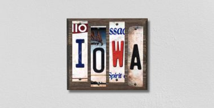 Iowa License Plate Strips Novelty Wood Signs WS-166
