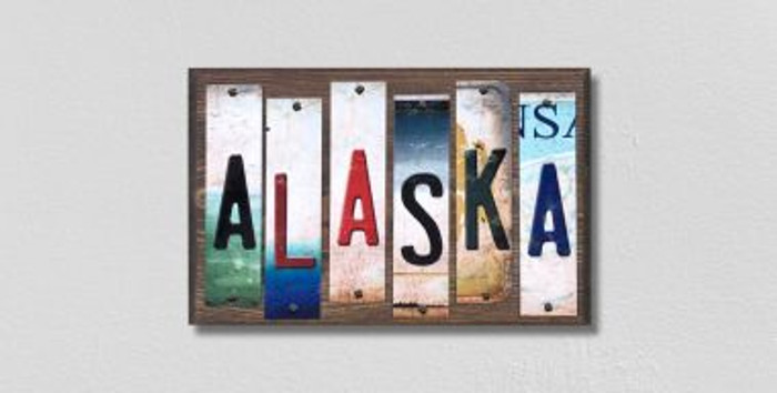 Alaska License Plate Strips Novelty Wood Signs WS-157