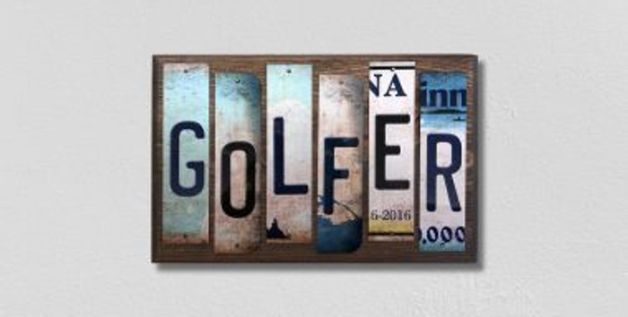 Golfer License Plate Strips Novelty Wood Signs WS-241