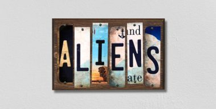 Aliens License Plate Strips Novelty Wood Signs WS-316