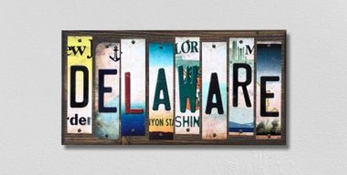 Delaware License Plate Strips Novelty Wood Signs WS-161