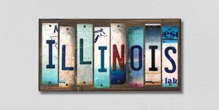 Illinois License Plate Strips Novelty Wood Signs WS-164