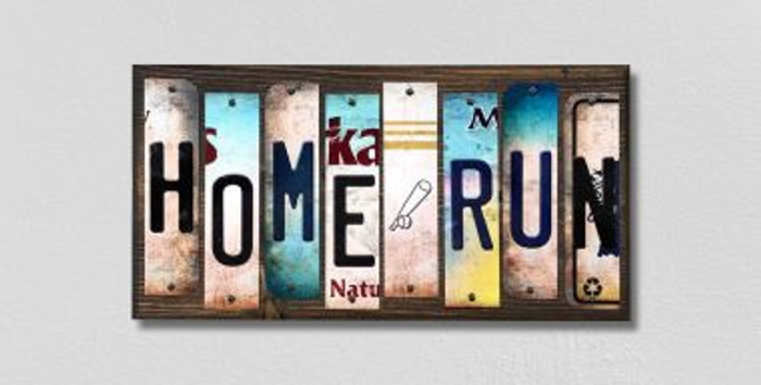 Home Run License Plate Strips Novelty Wood Signs WS-217