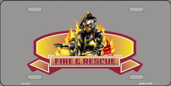 Fire Rescue Metal Novelty License Plate