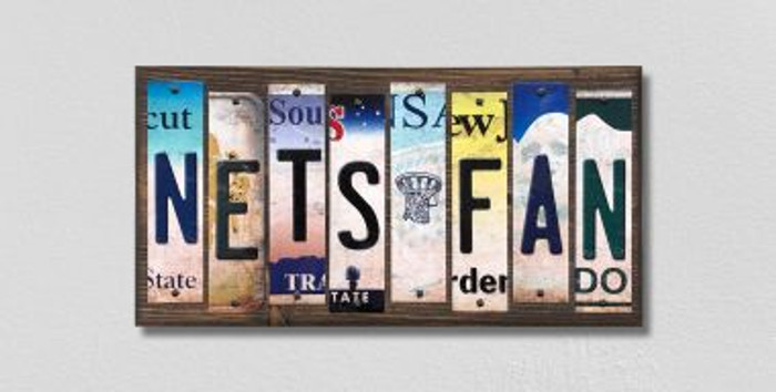 Nets Fan License Plate Strips Novelty Wood Signs WS-383