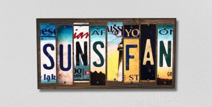 Suns Fan License Plate Strips Novelty Wood Signs WS-384