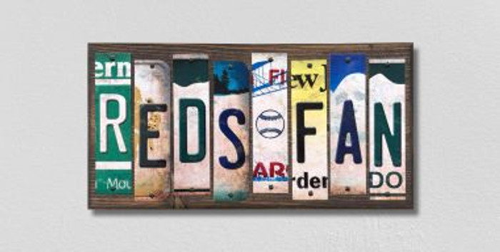 Reds Fan License Plate Strips Novelty Wood Signs WS-416