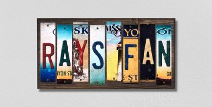 Rays Fan License Plate Strips Novelty Wood Signs WS-418