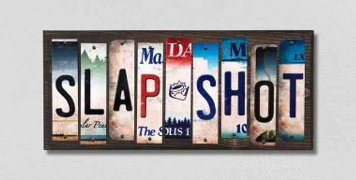 Slap Shot License Plate Strips Novelty Wood Signs WS-220