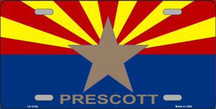 Prescott Arizona State Flag Metal Novelty License Plate LP-3740