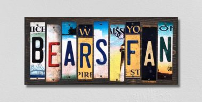 Bears Fan License Plate Strips Novelty Wood Signs WS-338