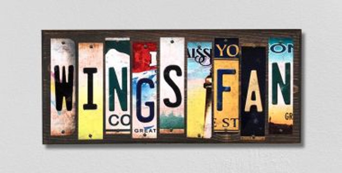 Wings Fan License Plate Strips Novelty Wood Signs WS-430