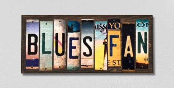 Blues Fan License Plate Strips Novelty Wood Signs WS-445