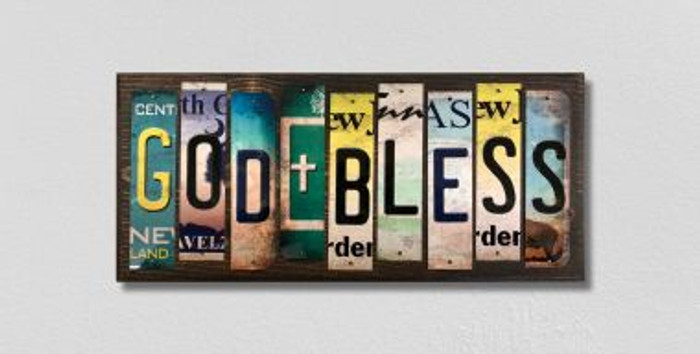 God Bless License Plate Strips Novelty Wood Signs WS-497