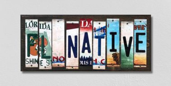 FL Native License Plate Strips Novelty Wood Signs WS-510