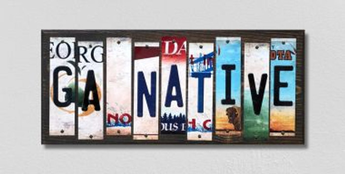 GA Native License Plate Strips Novelty Wood Signs WS-511