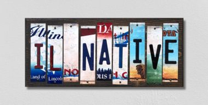 IL Native License Plate Strips Novelty Wood Signs WS-514