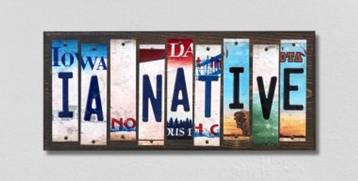 IA Native License Plate Strips Novelty Wood Signs WS-516