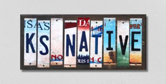 KS Native License Plate Strips Novelty Wood Signs WS-517