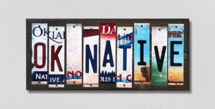 OK Native License Plate Strips Novelty Wood Signs WS-537