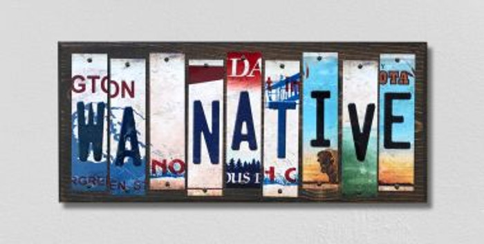 WA Native License Plate Strips Novelty Wood Signs WS-548