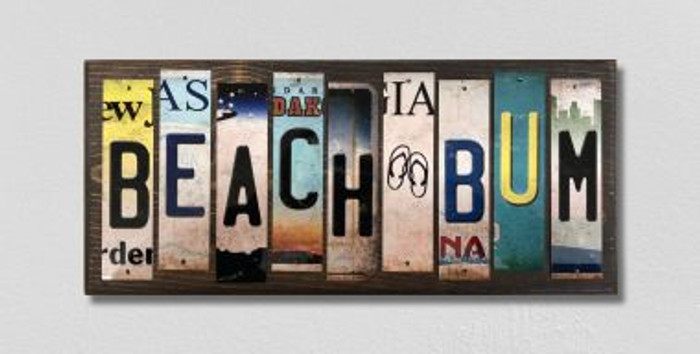 Beach Bum License Plate Strips Novelty Wood Signs WS-592