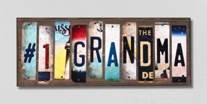#1 Grandma License Plate Strips Novelty Wood Signs WS-252